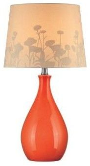 Bedside Lamp: 1-Light Table Lamp Orange Finish CLI-LS444961 - contemporary - table lamps - Home Depot