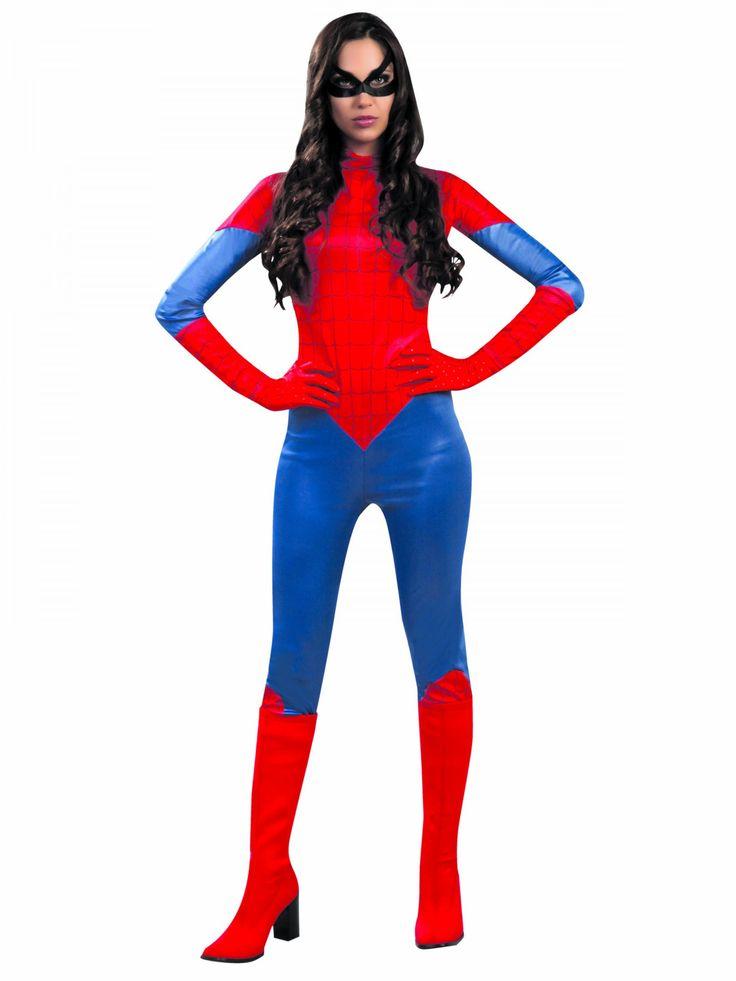 Disfraz de mujer araña roja: Este disfraz de superheroína para mujer incluye traje y máscara (zapatos y guantes no incluidos).El traje es de color azul y rojo de tejido fino.Se cierra con cremallera en la...