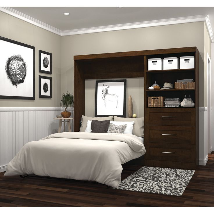 Pur by Bestar 95 Full Wall Bed Kit (Chocolate), Brown