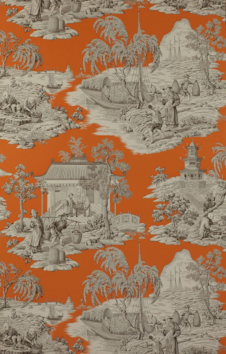 Manuel canovas toile de jouy love the orange love this - Papel pintado toile de jouy ...