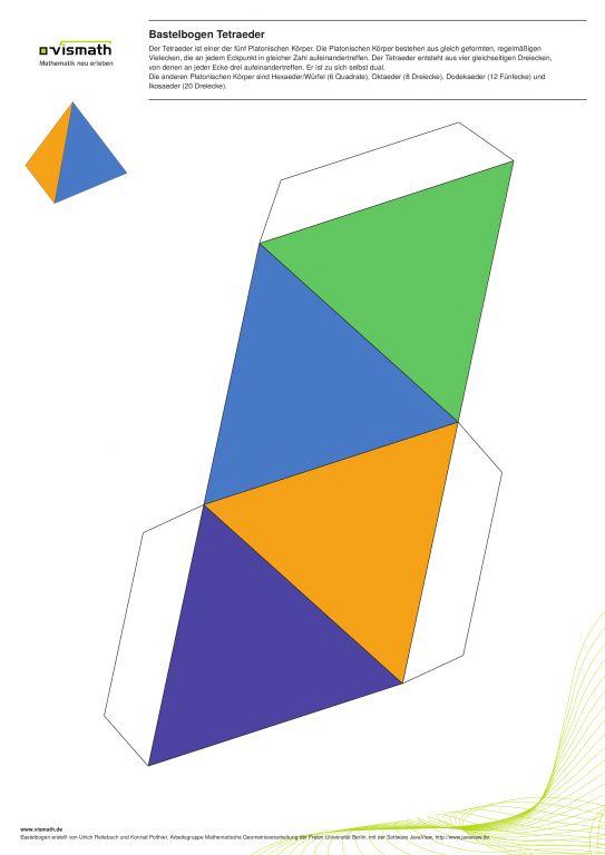 """Bastelvorlage Tetraeder: Ein Bastelbogen für den platonischen Körper """"Tetraeder"""". Vier Dreiecke, sechs Kanten, vier Ecken."""