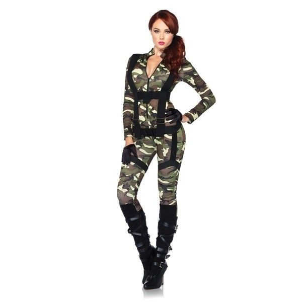 Army Halloween Costume ❤ liked on Polyvore featuring costumes, costume, army costume and army halloween costumes