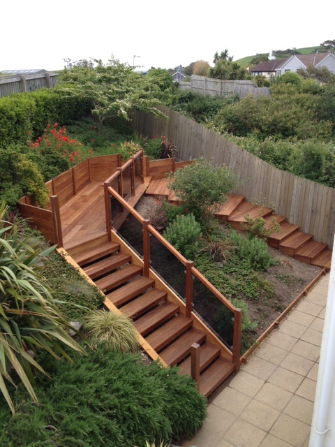 Garden Staircase In Iroko To Withstand Windy And Wet Coastal Conditions