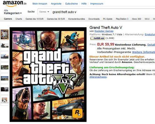 GTA V para PC aparece na Amazon francesa e alemã