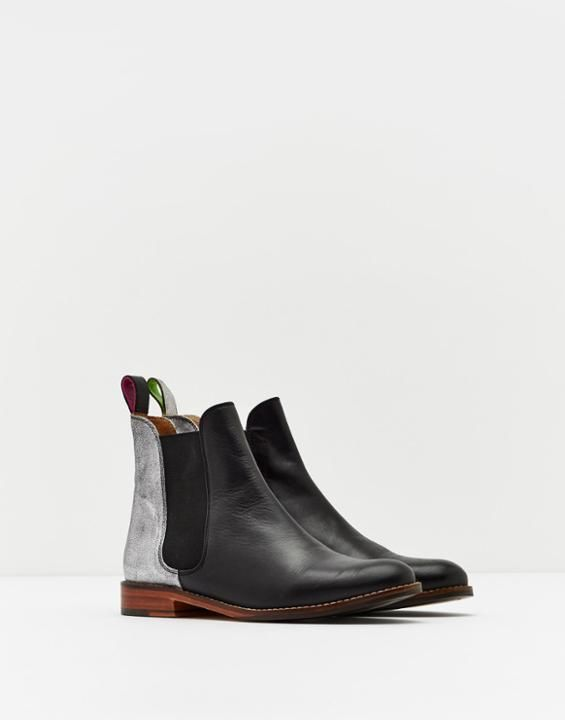 Westbourne Silver Leather Chelsea Boots | Joules US