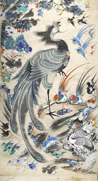 Chinese School Phoenix as king of the birds, ink wash, watercolour and gouache from the 19th century.