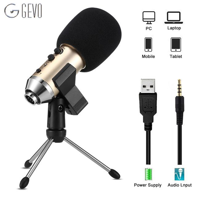 Gevo Mk F500tl Phone Microphone For Computer Professional Condenser Wired Usb Studio Mic For Karaoke Recording With Stand Tr Phone Microphone Microphone Tripod