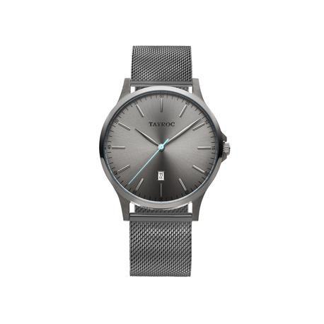Reloj caballero TAYROC Gun Metal Meshband.  Un profundo gris inunda de misticidad este moderno y elegante reloj. El toque de color lo aporta una manecilla en azul celeste, formando un contraste perfecto. Ideal para lucir con cualquier estilo y en cualquier momento.