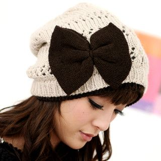 YESSTYLE: 59 Seconds- Bow-Accent Beanie (Beige and Brown - One Size) - Free International Shipping on orders over $150