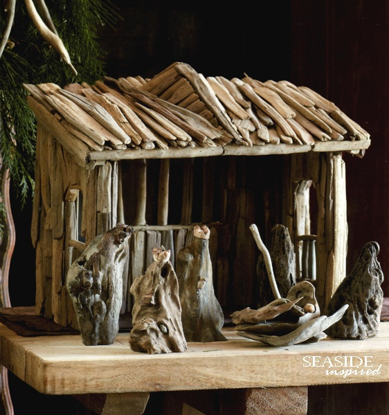 Driftwood Nativity Set/ like the stable made of driftwood