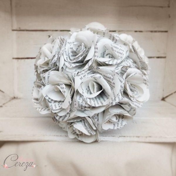 bouquet de mariage hiver fleurs papier roses original nature écologique personnalisable Mademoiselle Cereza