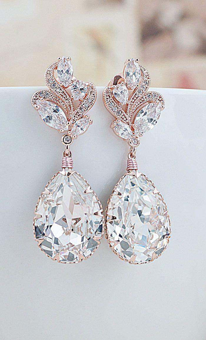 4bf903917 Luxury wedding inspiration Luxury Rose Gold Cubic Zirconia ear posts with Swarovski  Crystals Bridal Earrings From EarringsNation Rose Gold Weddings Blush ...