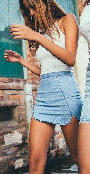 Wheretoget - White halter top and blue denim dip hem Brandy Melville skirt