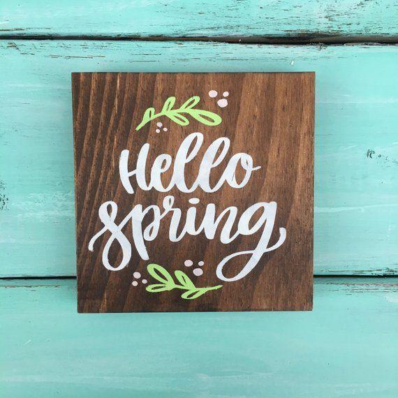 Hello Spring Wood Sign Spring Decor Spring Wood Sign Gallery Wall Sign Spring Wood Crafts Spring Decor Diy Hello Spring Sign