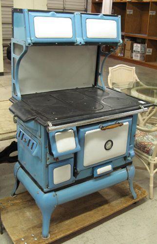 vintage blue kitchen wood stoves