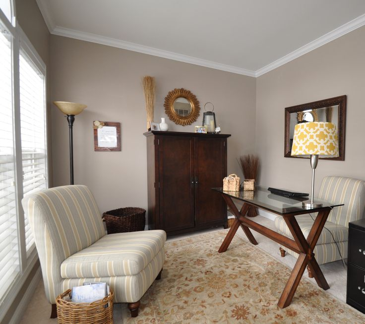 Office Paint - SW Perfect Greige - dark wood furniture and white trim.