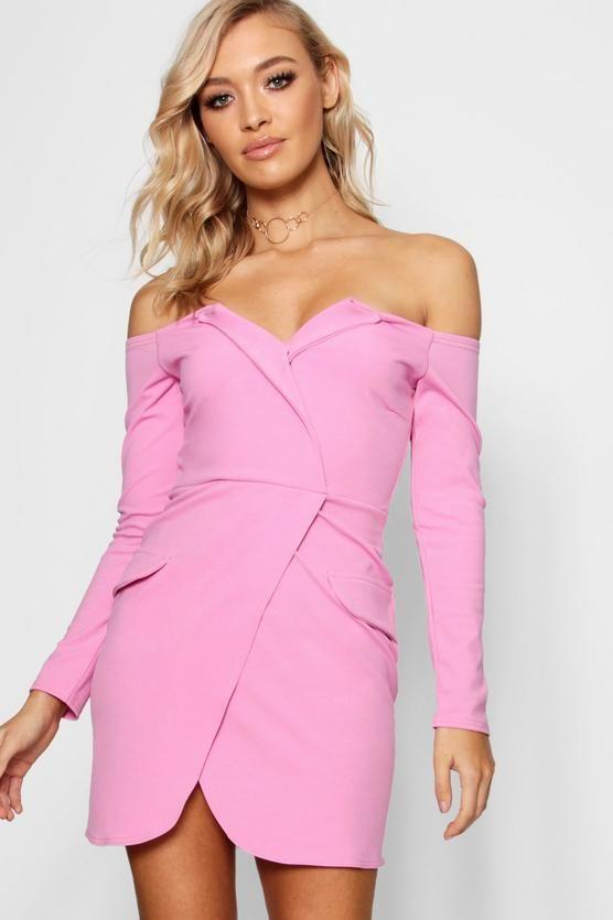 1988606443 Off the Shoulder Blazer Bodycon Dress | Fashion | Bodycon dress ...