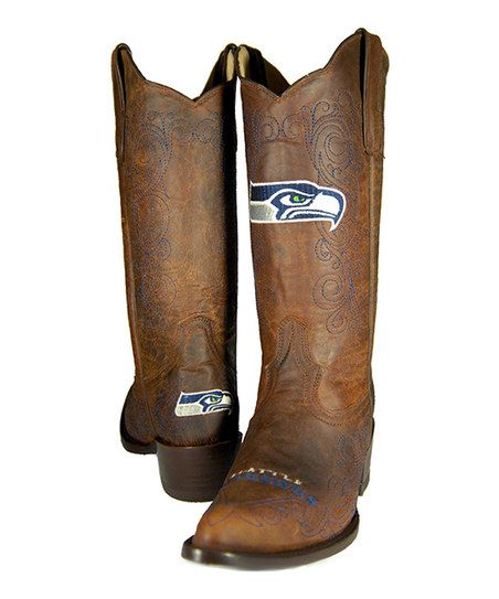 Brown Seattle Seahawks Flyover Cowboy Boot