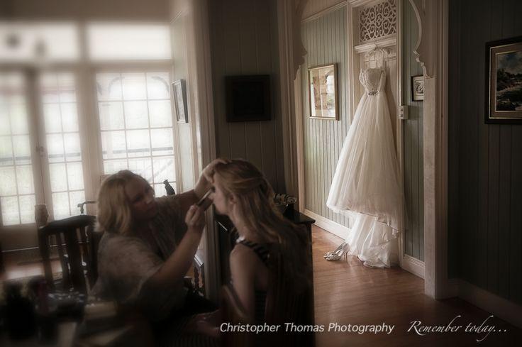 Brisbane Wedding Photographers - wedding dress and makeup, Christopher Thomas Photography, Megan Dent makeup artist