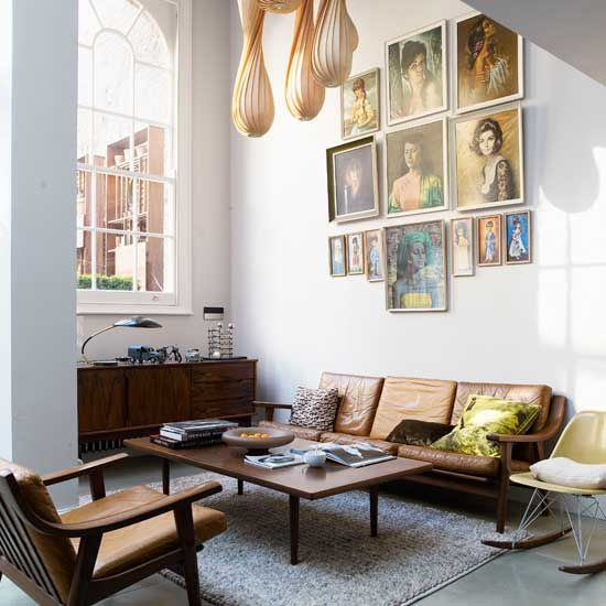 portrait gallery: living room portraits: Mid Century Modern, Idea, Living Rooms, Leather Sofas, Galleries Wall, Portraits, Furniture, Midcentury, Art Wall