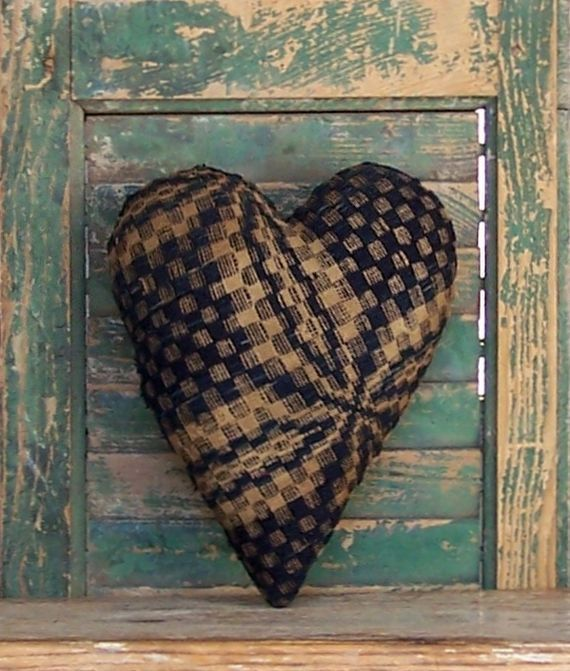 Heart pillow made from antique coverlet. Made in the USA and available in my Etsy shop!