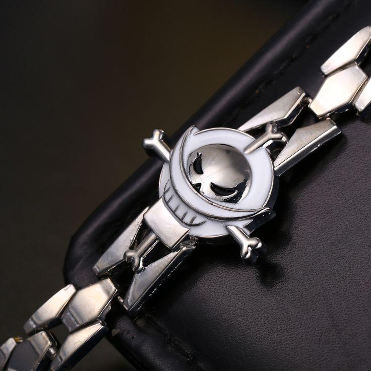Edward Newgate Skull Logo Bracelet Classic Skeleton One Piece Animation Cosplay Bangle No.SL010