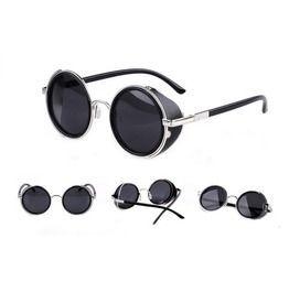 Goth/Steampunk Black/Silver/Gold Round Wraparound Sunglasses