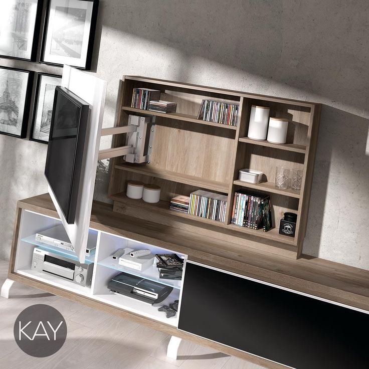Mueble TV con panel giratorio y estantes en su interior para diferentes aparatos multimedia