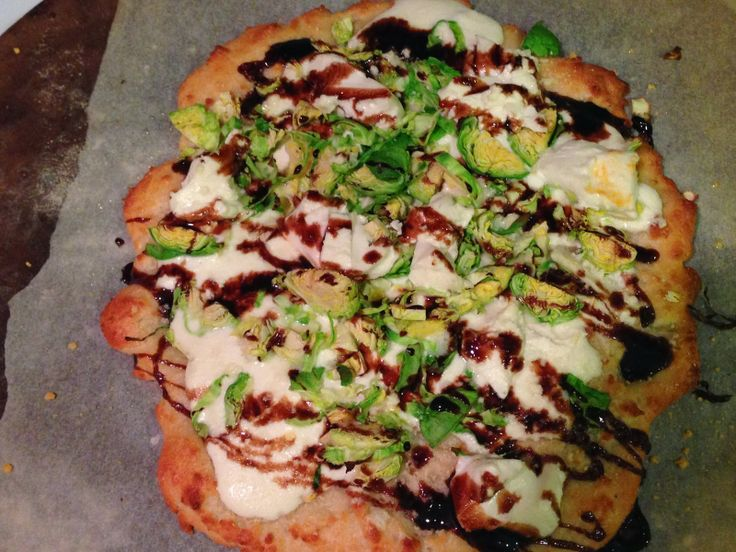 Goat Cheese Pizza with Brussels Sprouts & Balsamic Reduction