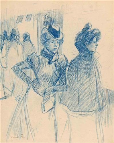 Two elegant women - Theophile Steinlen