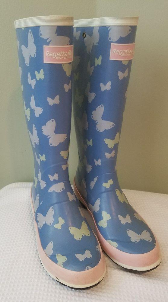 Regatta Women's Fairweather Wellington Boots Ladies Wellies Butterflies sz 6 UK4 #Regatta #Rainboots