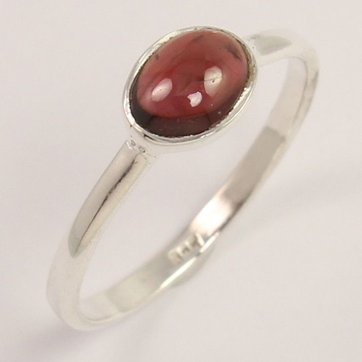 NEW Natural GARNET Gemstone 925 Sterling Silver Trendy Fashion Ring Size US 6.75 #Unbranded