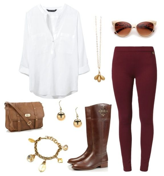Fall outfit with burgundy leggings. Paired with vintage inspired jewelry.