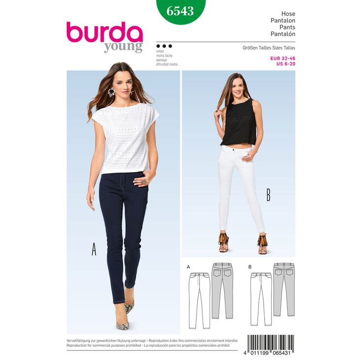 Misses' skinny pants/trousers, wonderfully comfortable made up in two-way stretch pant fabric. They include an array of jeans details with at-the-waist or below-the-waist options.