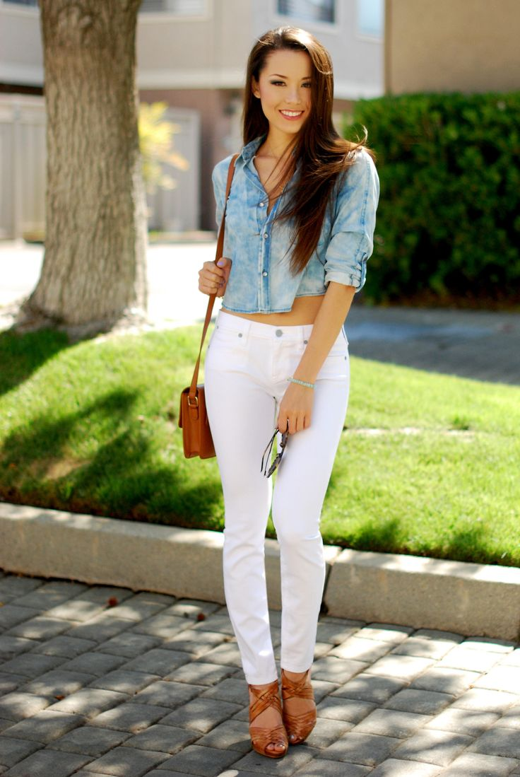 17 best images about white pants on pinterest for White pants denim shirt