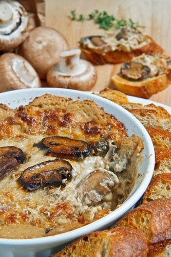 Hot Cheesy Mushroom Dip with Garlic, Sour Cream, Cream Cheese, Mozzarella, White Wine, and Parmigiano Reggiano (other hot dips avail. at this link too)