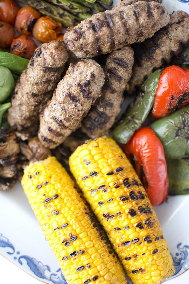 Färskebab med grillade grönsaker