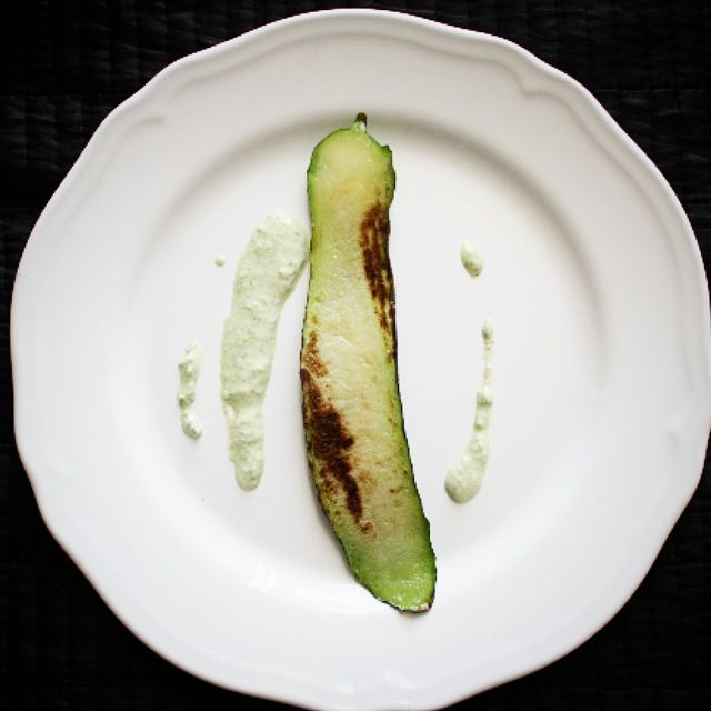 Grilled Zucchini with Garlicky Parsley-Feta-Jalapeno Puree