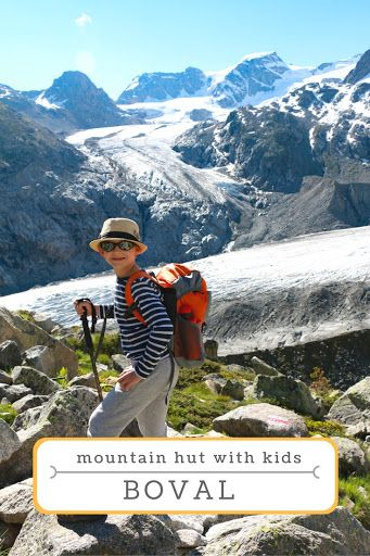 Hike to Boval Hut, overlooking the Morteratsch glacier and surrounding peaks. Fun for a day hike or overnight stay with kids. Switzerland for families.