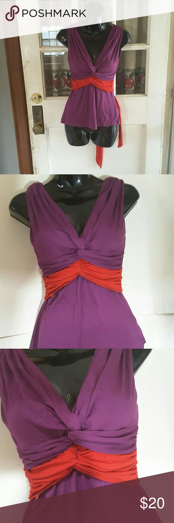 Bebe top Purple double twist top stretchy material bebe Tops