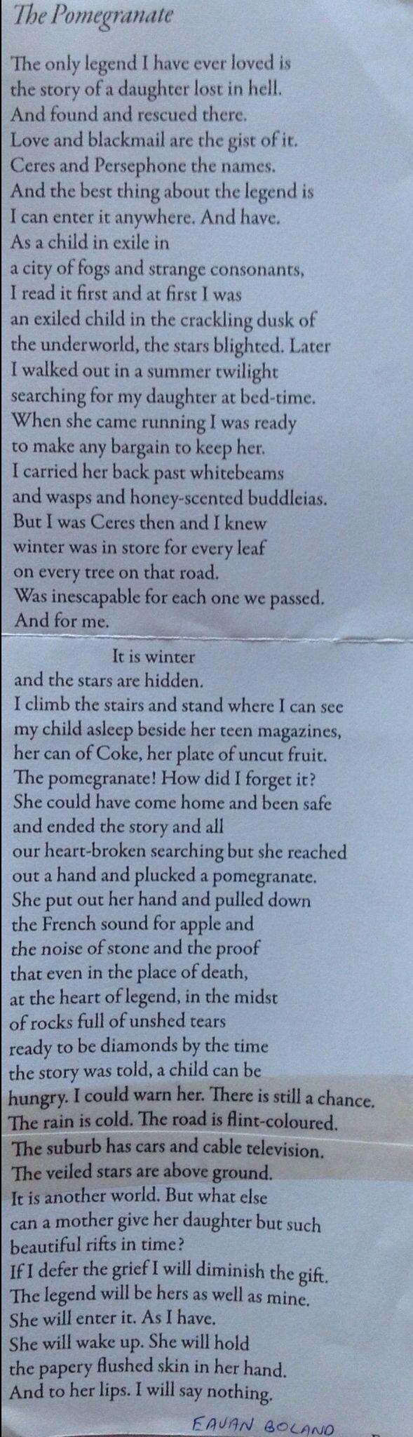 Eavan Boland poem, The Pomegranate, based on the Persephone/Demeter myth.