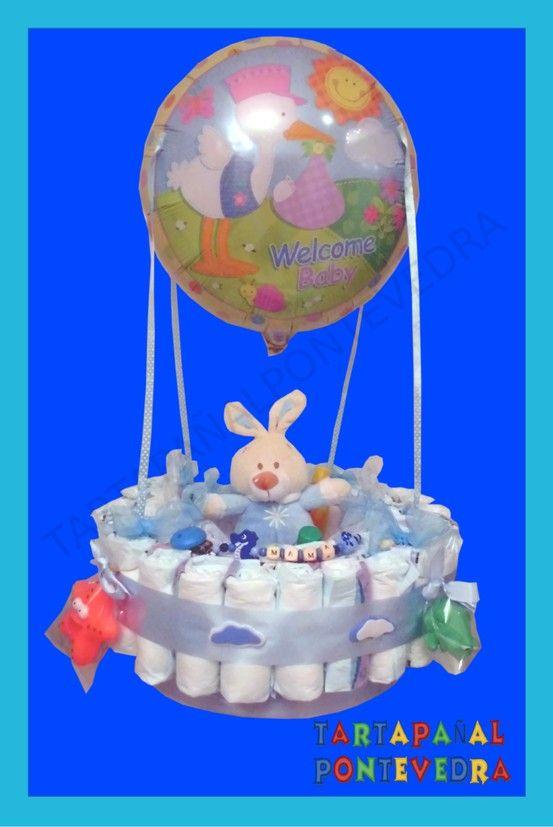 tarta de pañales globo
