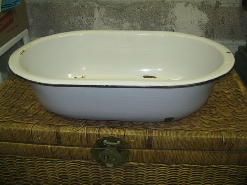 Vintage Metal Enamelware Baby Wash Tub Basin White With