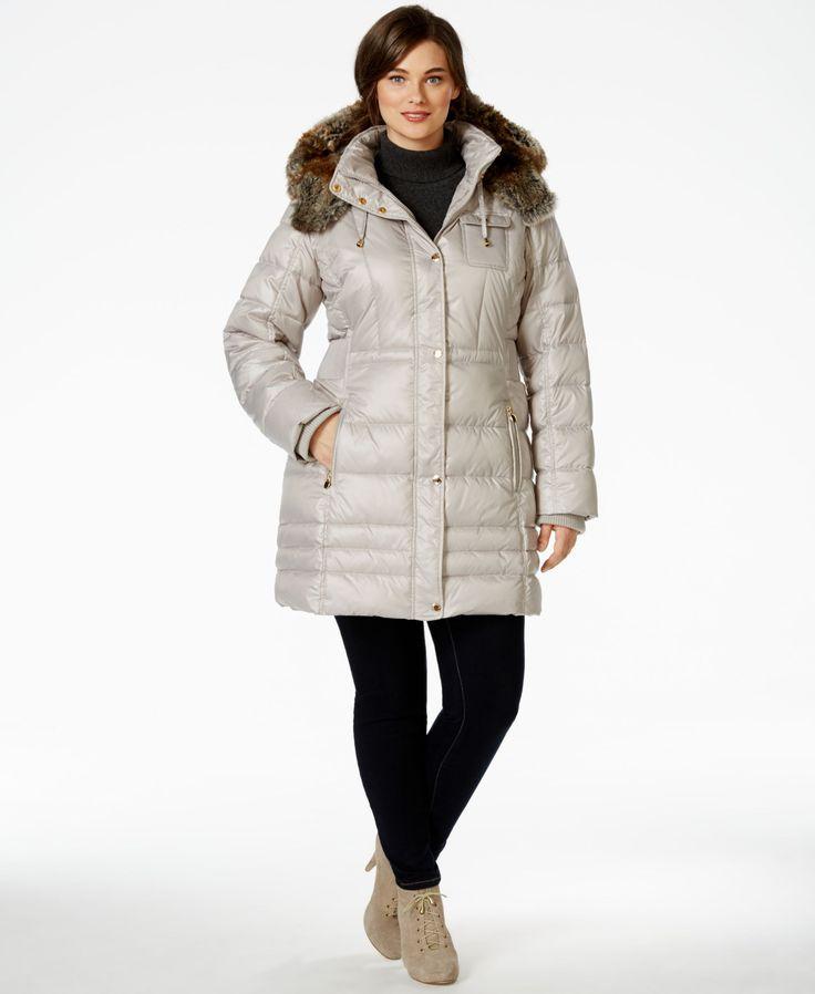 Laundry by Design Plus Size Faux-Fur-Trim Plus Size Puffer Coat