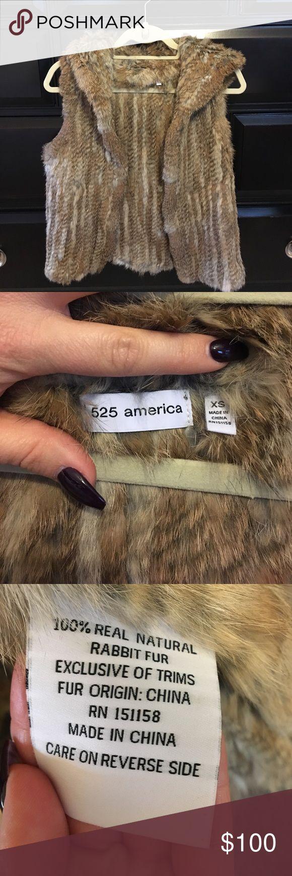 BRAND NEW 💕 Real rabbit fur vest Never worn real fur vest with hood 525 america Jackets & Coats Vests