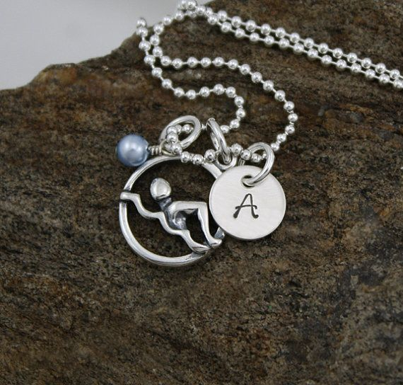Swimmer Necklace  Sterling Silver by GracieAndMeDesign on Etsy, $39.00