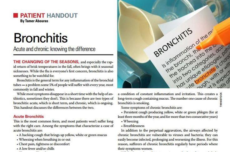 Patient Handout Bronchitis Patient education, Handouts