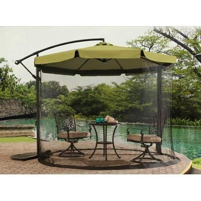 Beige Patio Red Umbrella 10 With Mosquito Netting Canopy Cantilever Patio Umbrella Patio Umbrella Patio Umbrellas
