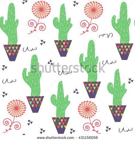 Nature floral odd funny  cactus seamless pattern and seamless pattern in swatch menu, vector illustration - stock vector