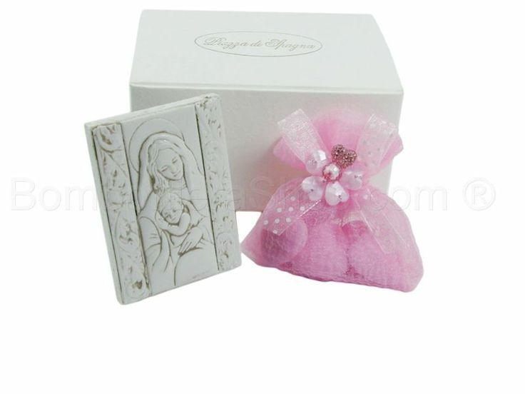 Quadro rettangolare Maternità in Bassorilievo in marmoresina con scatola confezione rosa